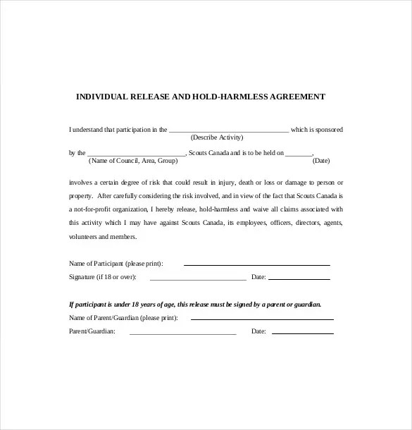 11 Hold Harmless Agreement Templates Free Sample Example