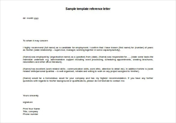 Reference Template. 28 Reference Letter Template Free Sample
