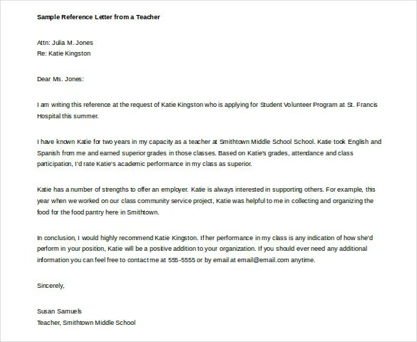Letter for teacher of the year recommendation – Recommendation Letter for Teacher