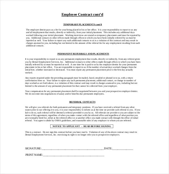 free employment agreement template free download