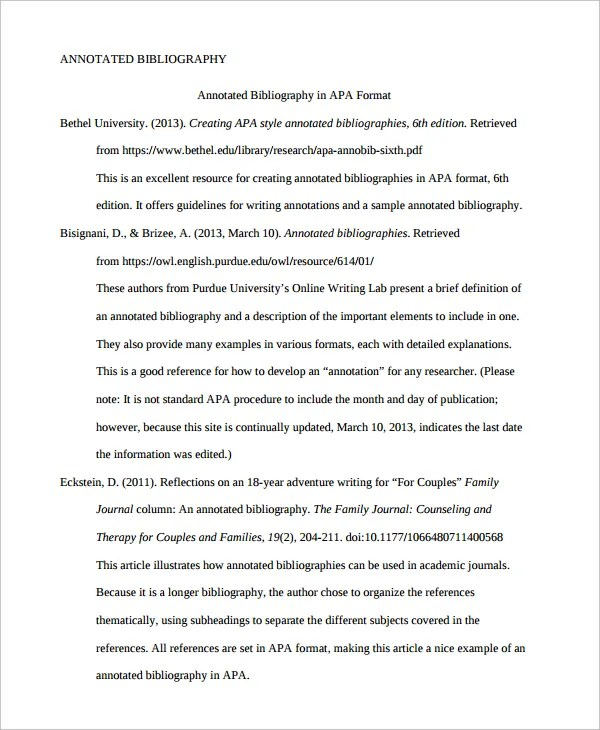 Annotated Bibliography Apa With Multiple Authors