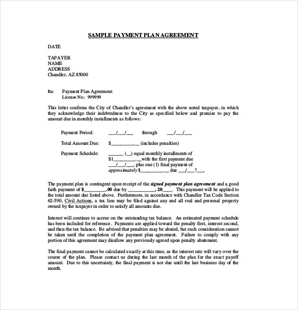 Payment Plan Letter Sample  Docoments Ojazlink