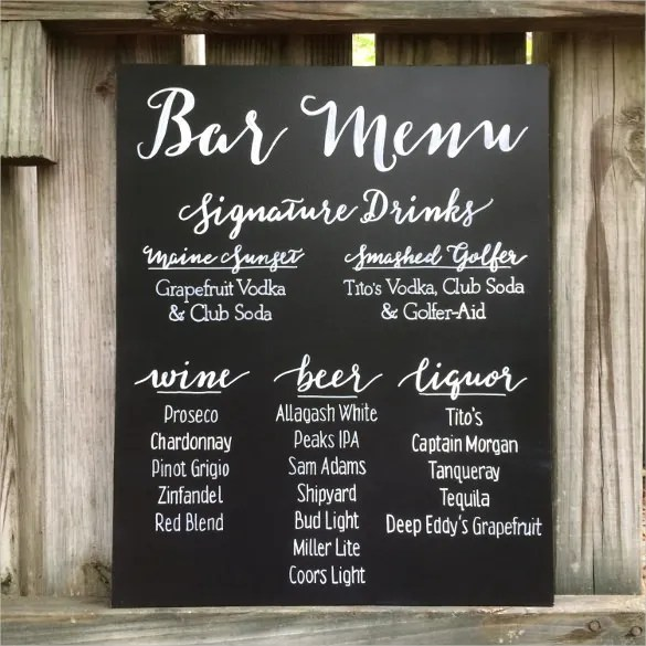 Wedding Bar Menu Template. love is intoxicating alcohol by ...