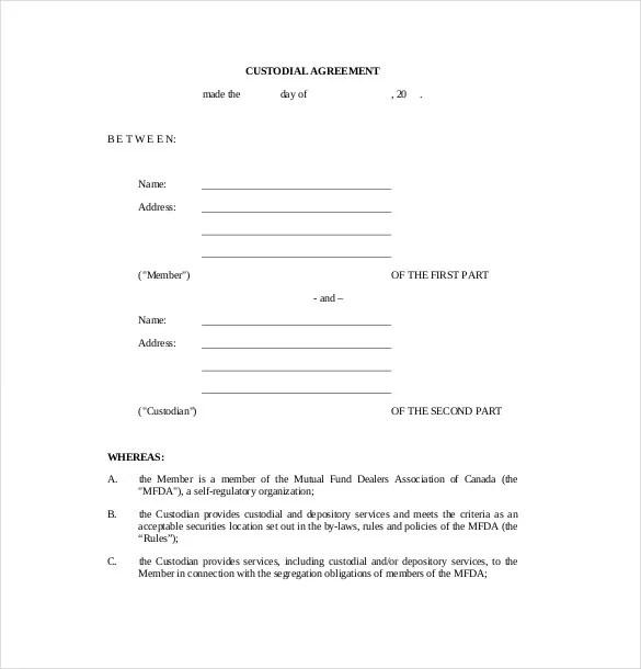 example format. child custody agreement form free printable ...