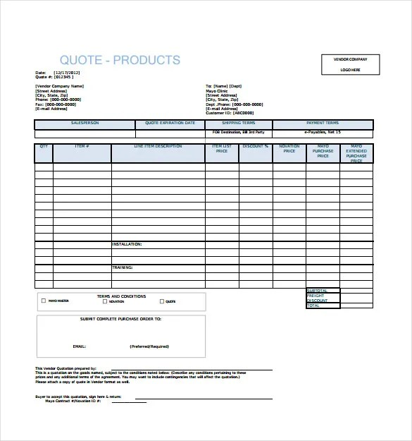 Doc460595 Price Quotations Price Quotation Format Template – Professional Quotation Template