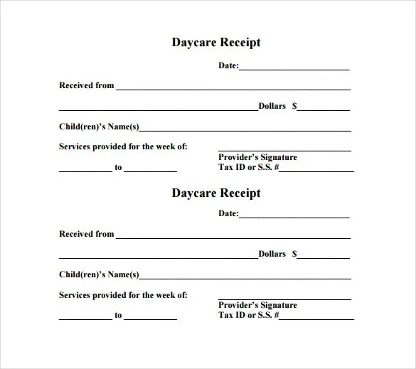 Child Care Receipt Template FREE DOWNLOAD - Free word invoice template download