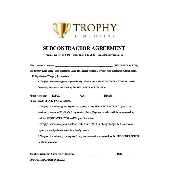 Subcontractor Template Subcontractor Assessment Form Buy Sample