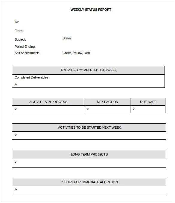 Status Report Excel Template weekly activity report template 30 – Weekly Employee Status Report Template