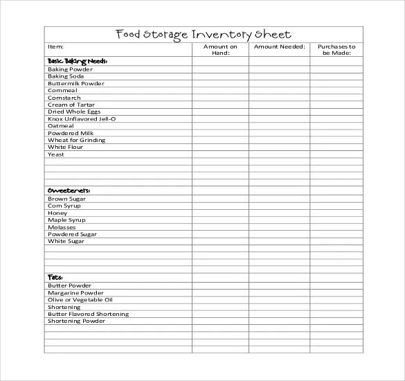 Restaurant Inventory Template food inventory template 11 free – Restaurant Inventory Template
