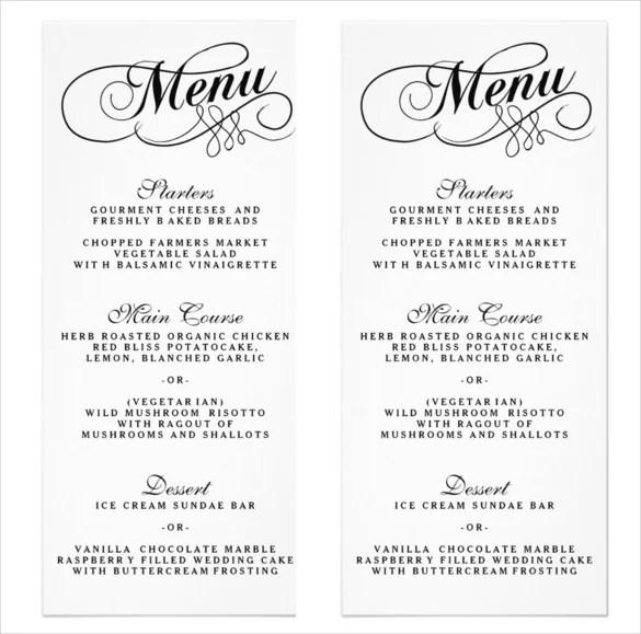 Free Printable Wedding Menu Templates Invitation Sample