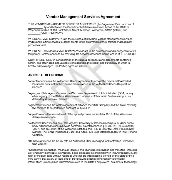 Simple Vendor Agreement Template contract agreement between two – Simple Vendor Agreement