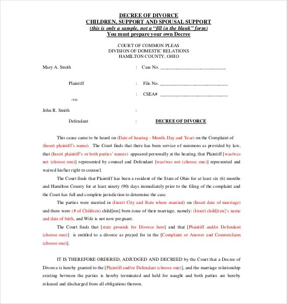 Divorce Template ms word divorce application form template word – Example of Divorce Papers
