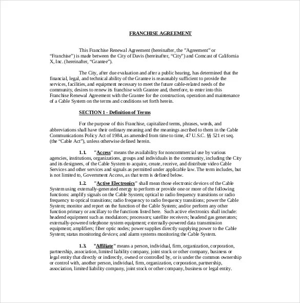 master download 10 sample useful franchise agreement templates – Standard Loan Agreement Template Free
