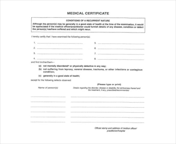 Medical Certificate Template free medical certificate doctor 39 s – Download Medical Certificate