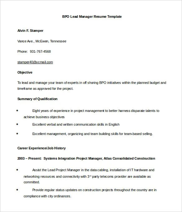 bpo resume template 22 free samples examples format download
