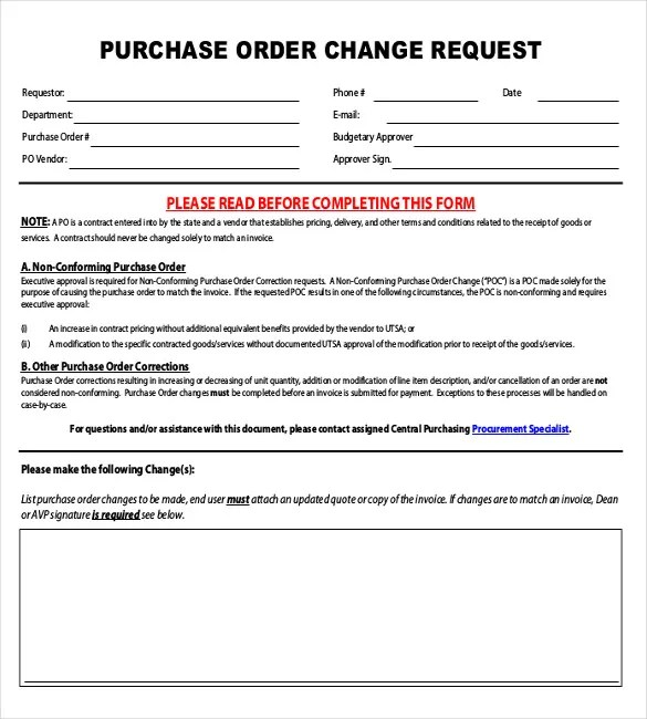 Order Request Form Template purchase excel purchase formscentral – Change Order Template Example