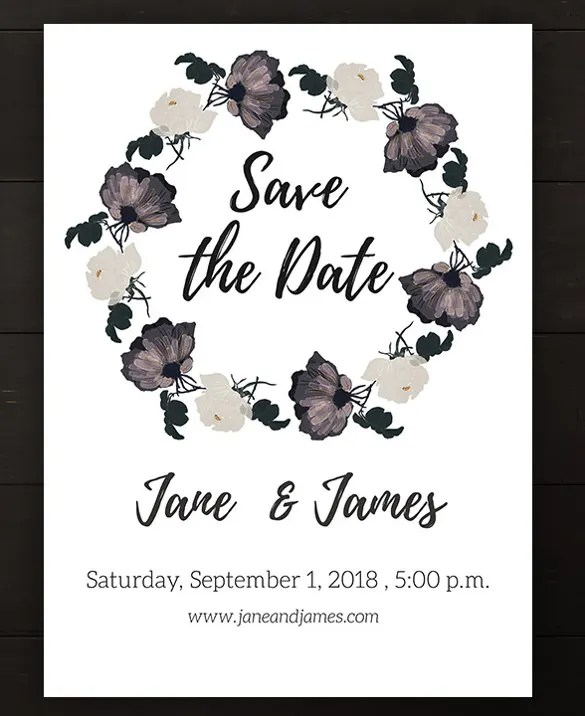 Roses Theme Wedding Card Template For