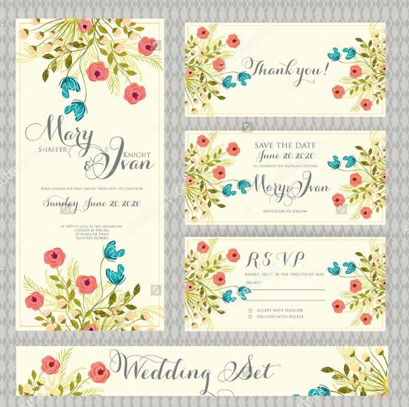 Fl Design Wedding Card Template For