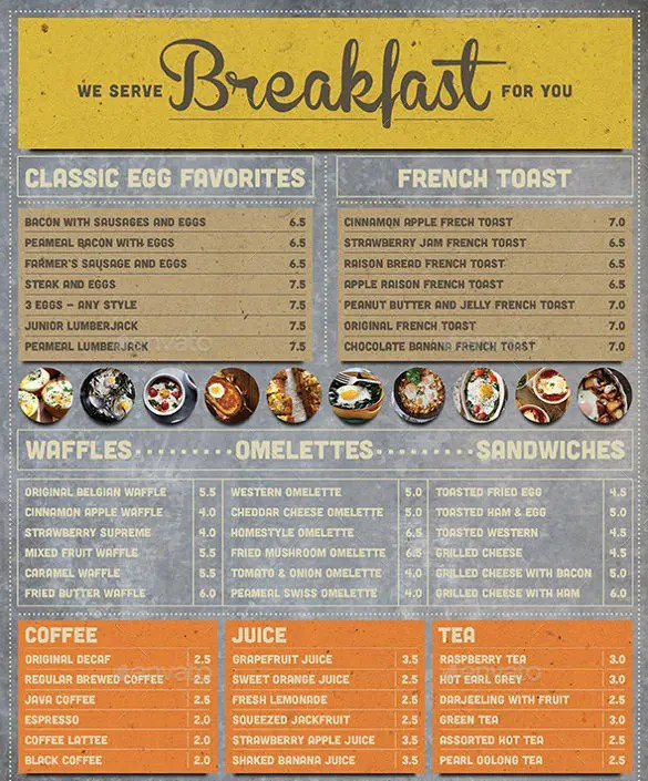 32 Breakfast Menu Templates Free Sample Example Format Download Free Premium Templates