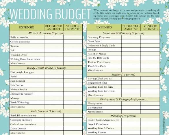 Wedding Budget Template 16 Free Word Excel Pdf