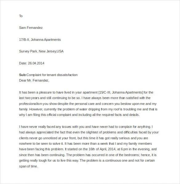 14 Tenant Complaint Letter Templates