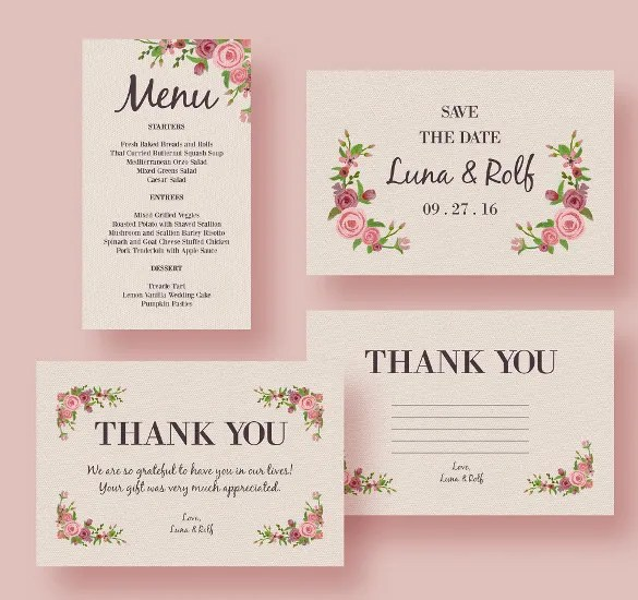Ready To Print Wedding Menu Template For