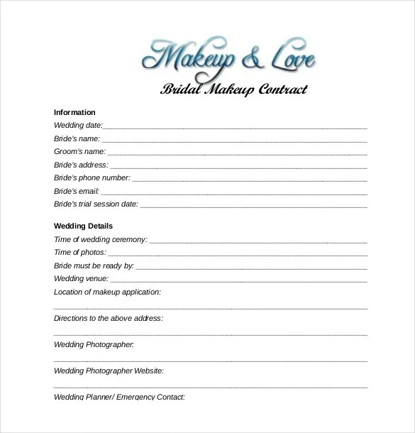 wedding and bridal makeup contract template download
