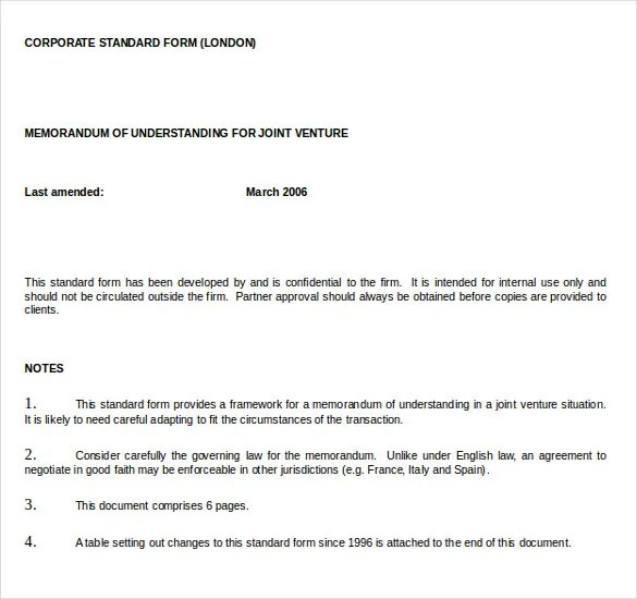 Memorandum Of Understanding Template 20 Word Pdf Google