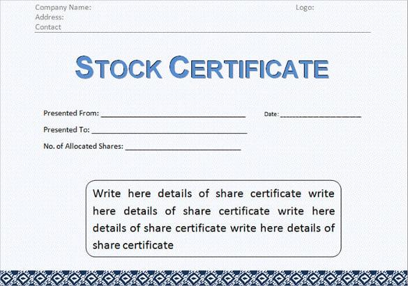 Shareholder Certificate Template free printable stock – Shareholders Certificate Template