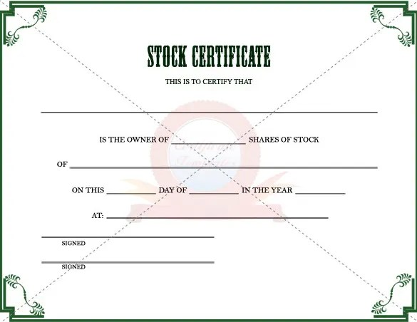 Company Share Certificate Template stock certificate template 4 – Stock Certificate Format