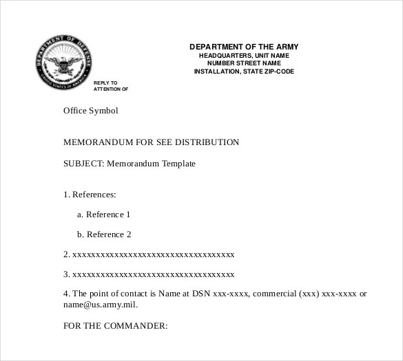 Army Memo Format Template. official memo template army memo ...