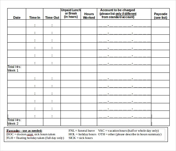 Free Timesheet Template Word monthly timesheet template 15 – Free Timesheet Template Word
