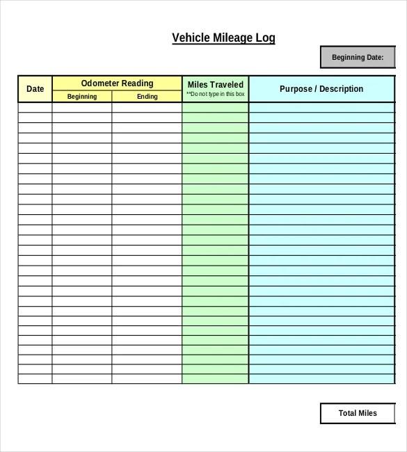mileage log template pdf – Mileage Log Template