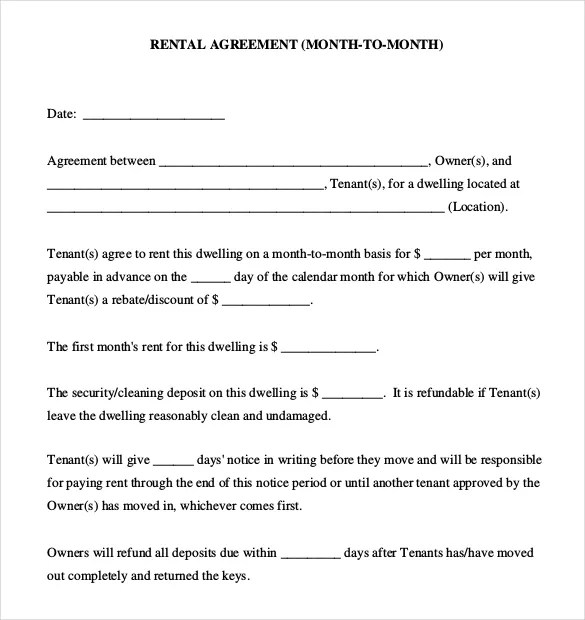 Rental Lease Templates. Watches Pictures And Free Printable On