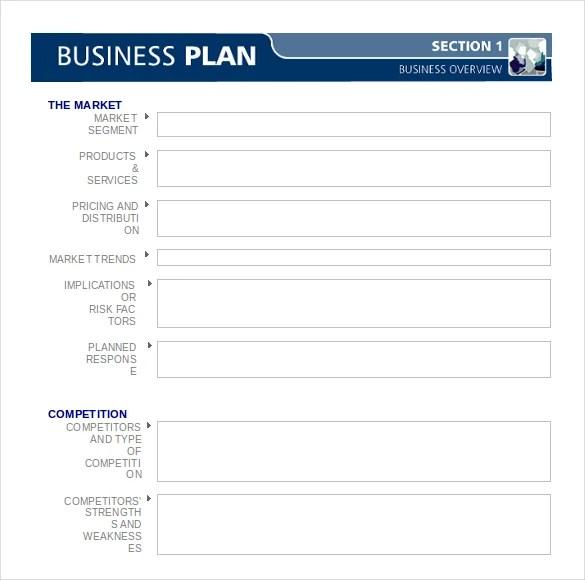 Short business plan template word