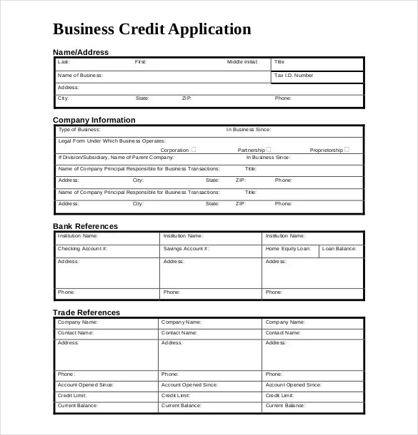 sample credit application form template sample forms credit – Account Form Template