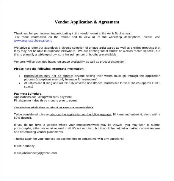 Simple Vendor Agreement Template sale of business document – Simple Vendor Agreement