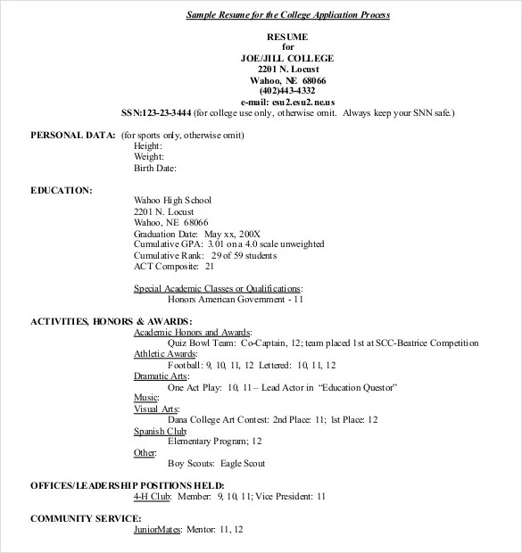 Sample Resume For Application To College. How To Write A College