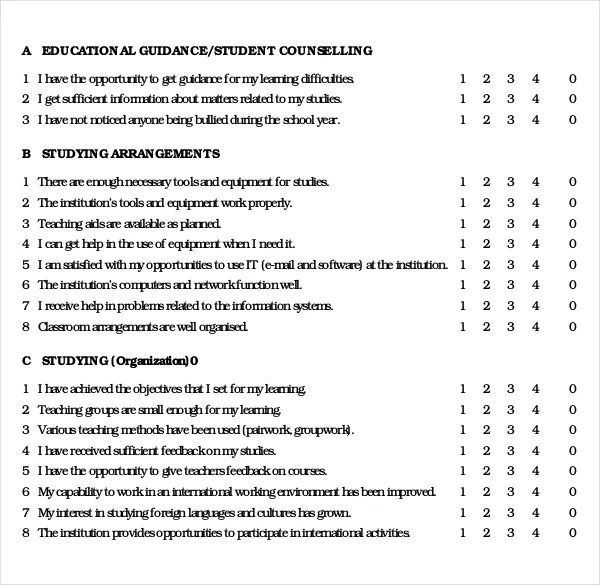 Sample Questionnaire Template 15 student survey templates free – Student Survey Template