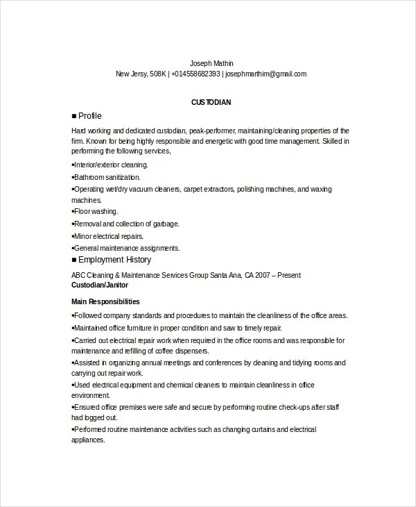 Custodian Resume. Custodian Resume Examples Samples Free Edit With