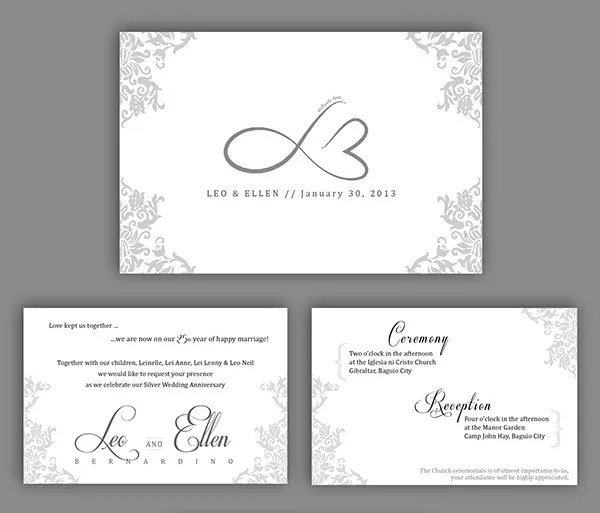 Cards Decorating Ideas 25th Wedding Anniversary Invitations Is Artistic Templates For Your Inspiration To Create Invitation 8
