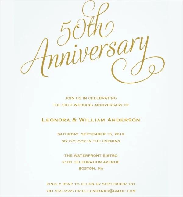 50th Wedding Anniversary Invitations Template