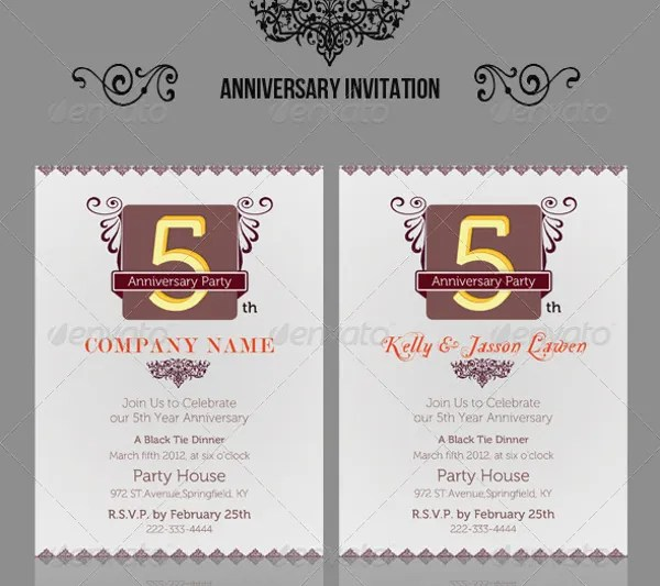 Anniversary Party Invitations Template Best Template