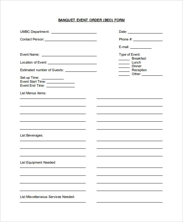 Banquet Event Order Template Banquet Event Order Template Leave A
