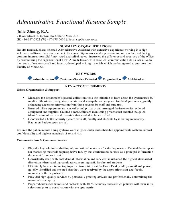 Functional Resume Template For Administrative Assistant. Breakupus