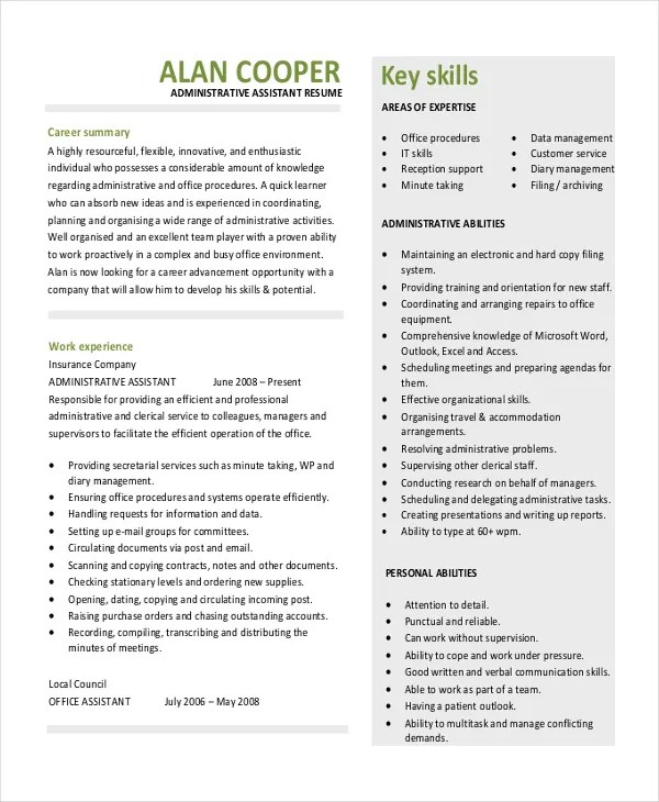Delightful 10 Executive Administrative Istant Resume Templates Free