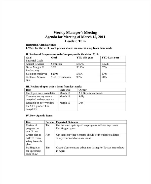 12 Weekly Meeting Agenda Templates Free Sample Example