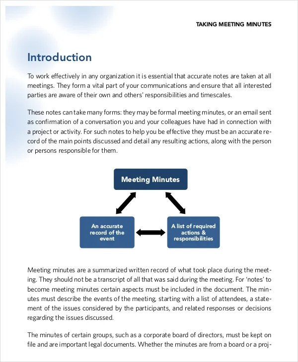 Taking Meeting Minutes Template ms word meeting minutes template – Taking Minutes Format
