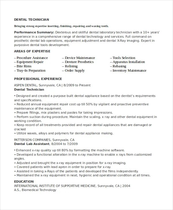 Resume chemical lab technician