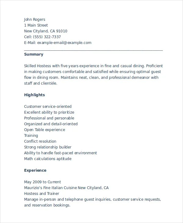 Hostess Resume Example. Restaurant Host Resume Template